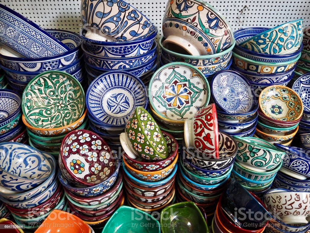 Patterned bowls in Morocco stock photo
