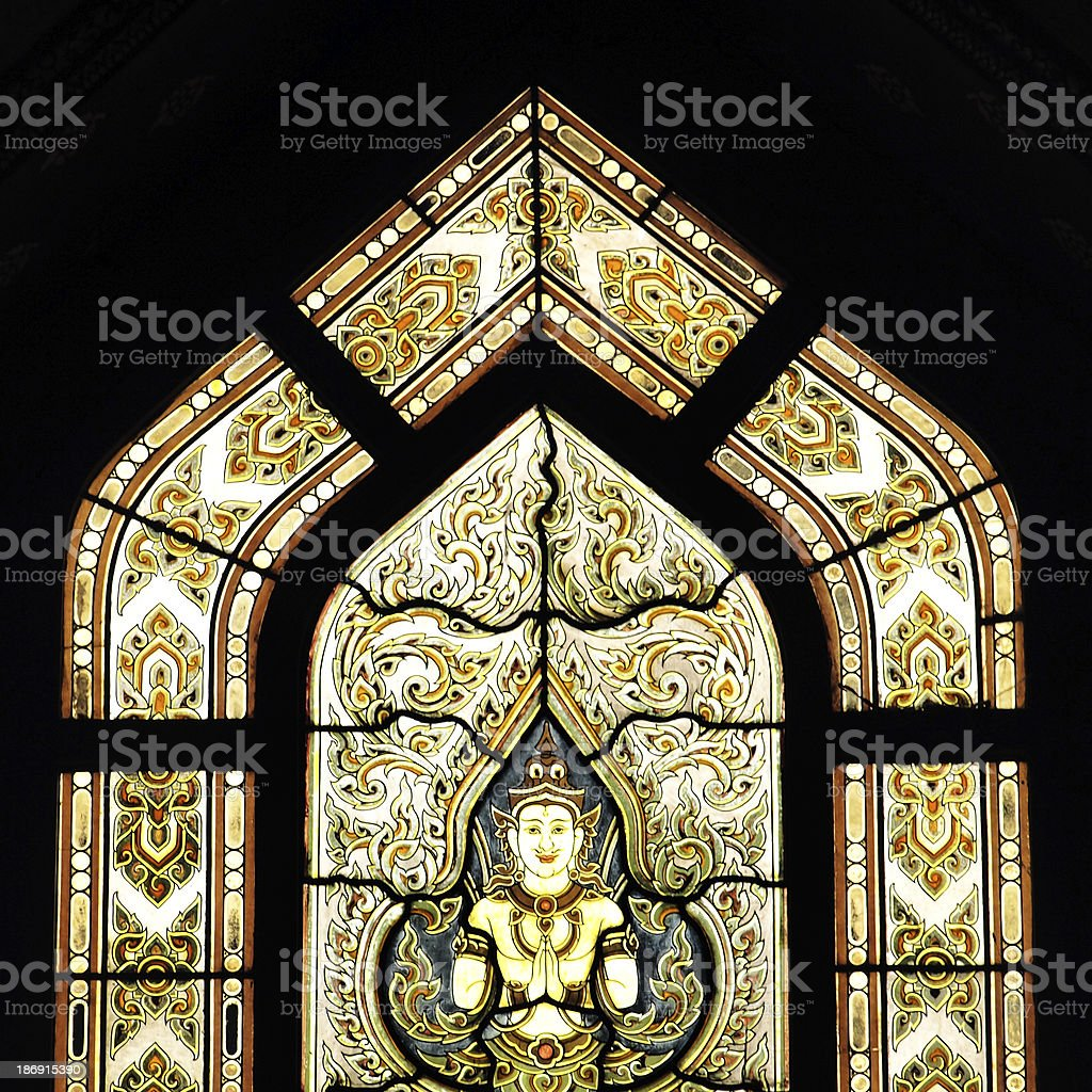 Patterned glass at Wat Benchamabophit - the Marble Temple royalty-free stock photo