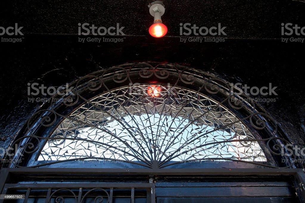 Patterned Glass Transom Window stock photo