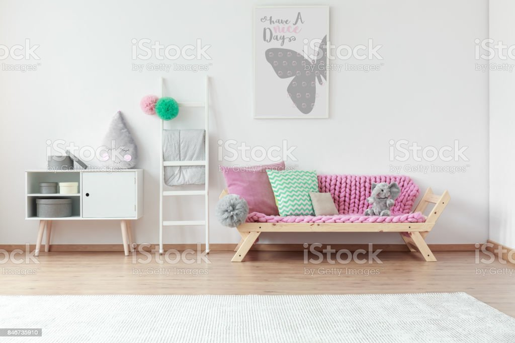 Patterned pink and mint pillow stock photo
