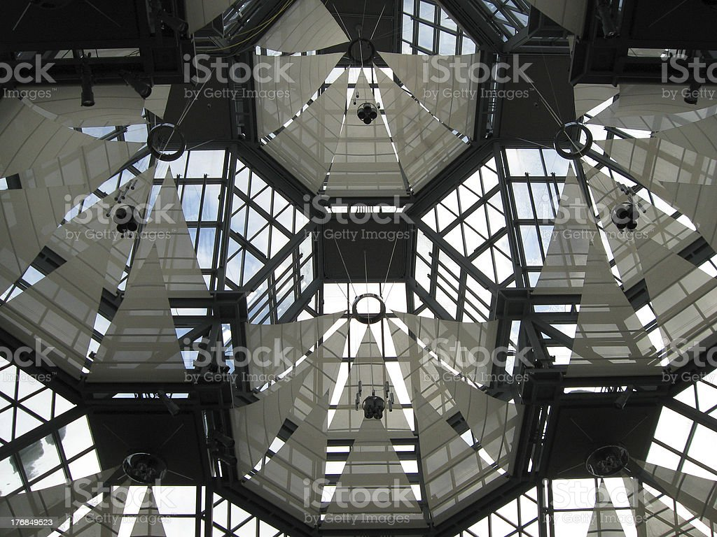 Patterned skylights and ceiling. stock photo