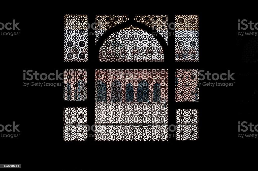 Patterned stone screen wall of Salim Chishti Tomb, Fatehpur Sikri stock photo