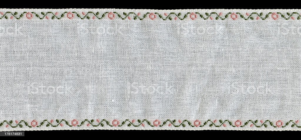 Patterned Strip of White Fabric royalty-free stock photo