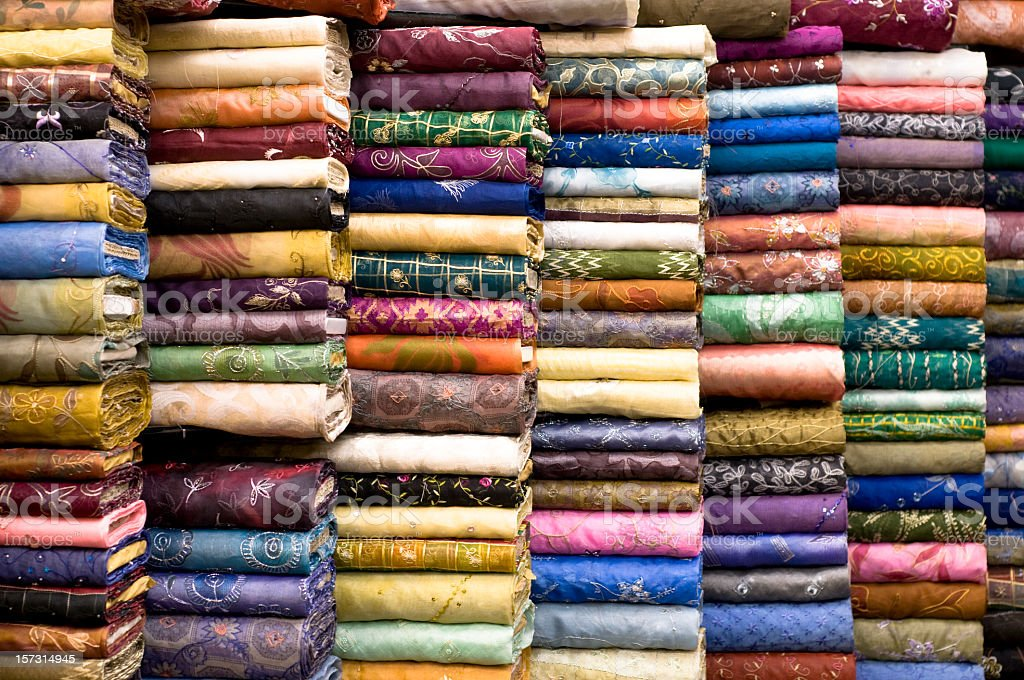 Patterned Textile Fabrics on Display stock photo