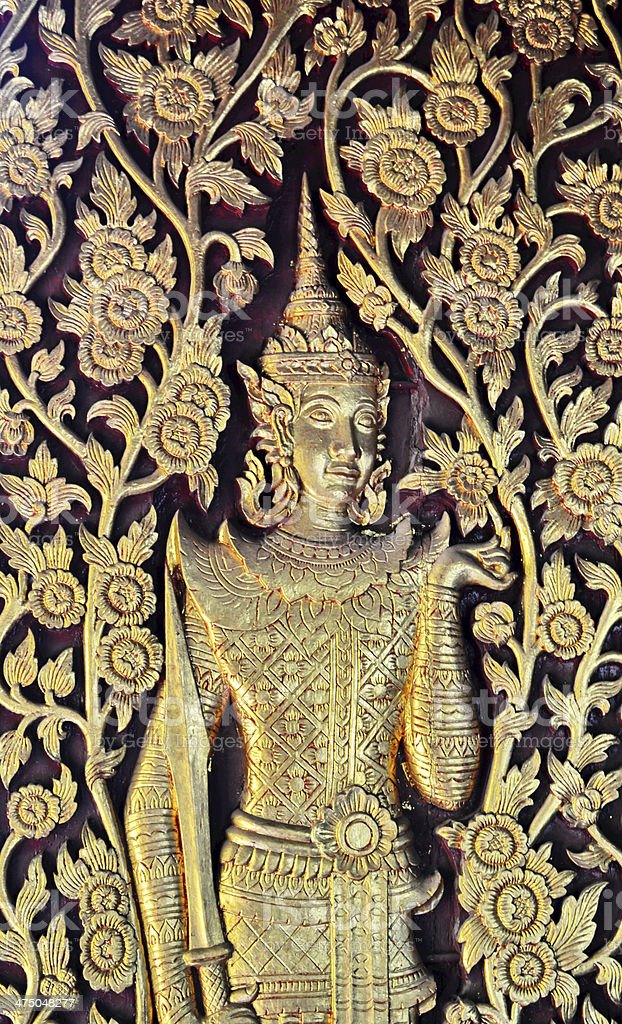 Patterns carved gold background royalty-free stock photo