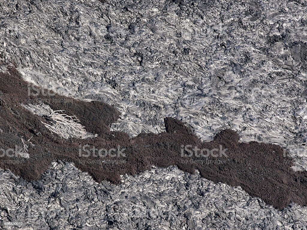 Patterns cracks and shapes from black solidified lava, Hawaii stock photo