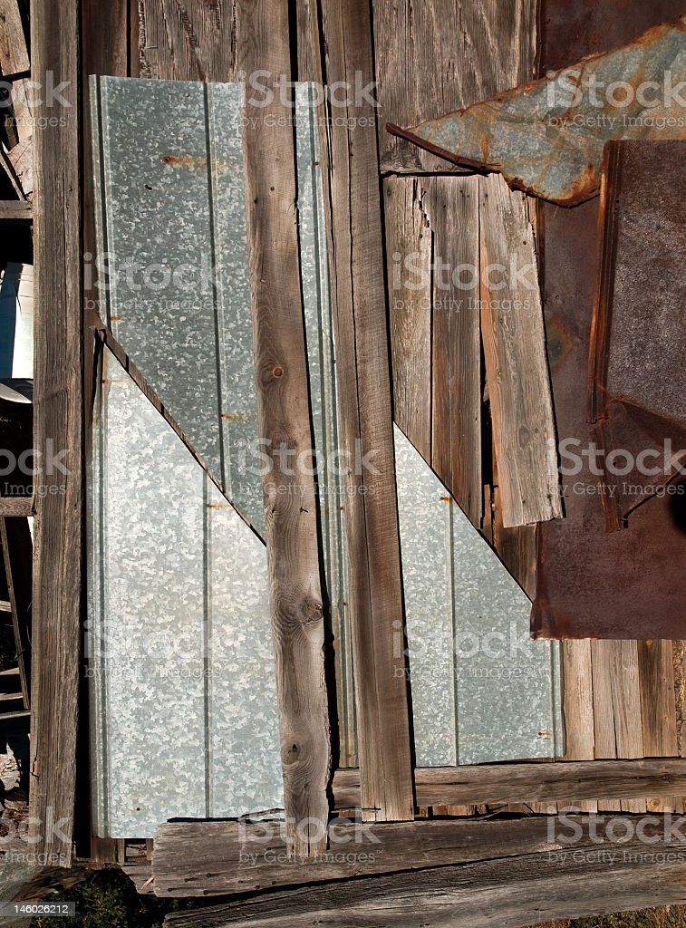 Patterns in Metal and Wood royalty-free stock photo