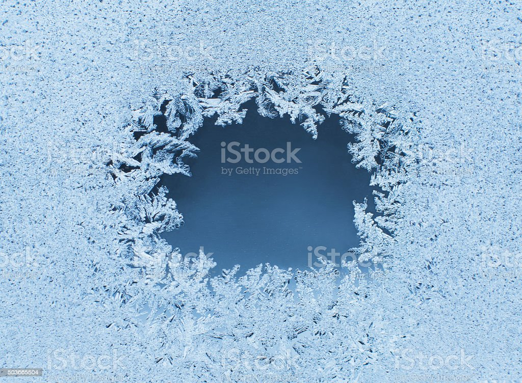 Patterns made by the frost on the window stock photo
