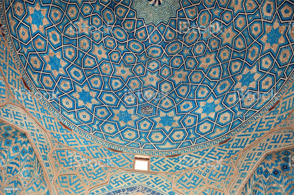 Patterns of ceramic tile of the blue ceiling of historic mosque stock photo