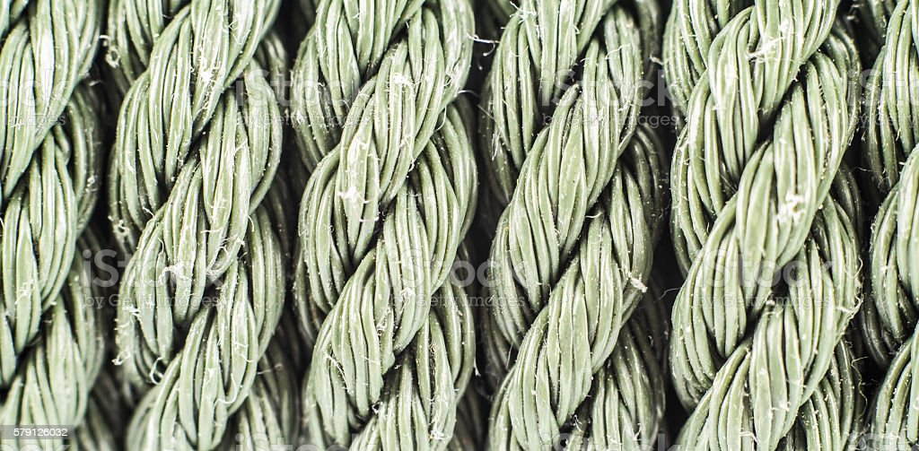 Patterns of old nylon rope. stock photo