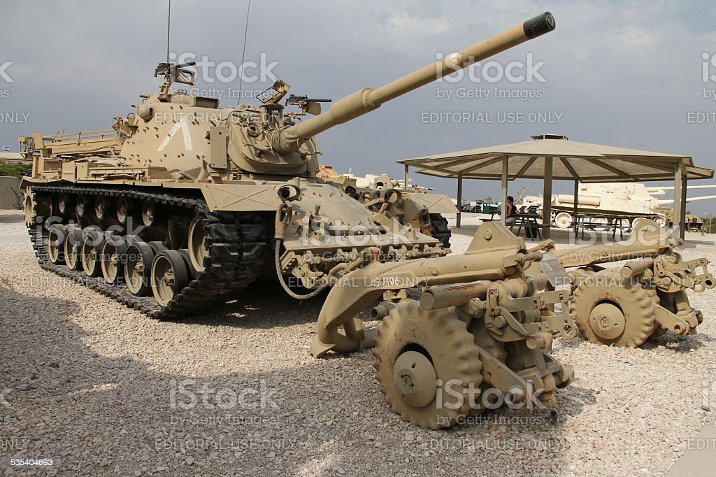M48 A5 Patton tank with Mine Clearing Roller System (MCRS) stock photo