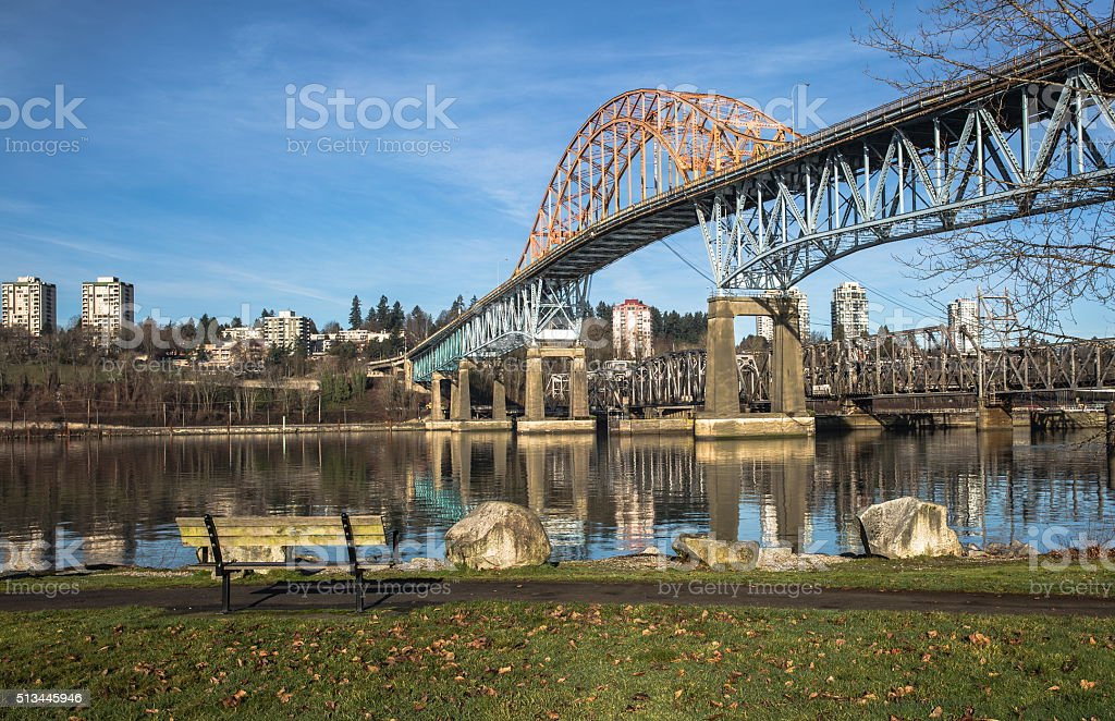 Pattullo Bridge and Railroad Track, New Westminster stock photo