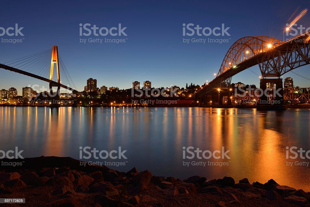 Pattullo Bridge and the Skybridge stock photo