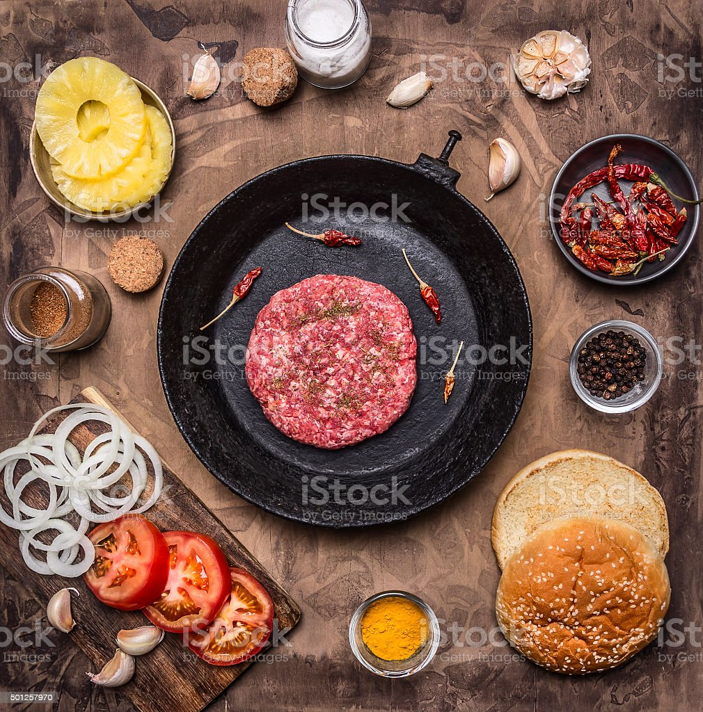 patty minced meat burger home burger buns, wooden rustic background stock photo
