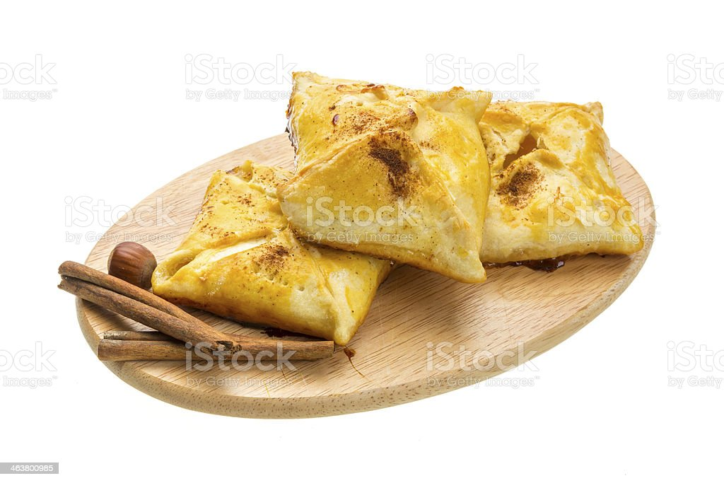 Patty with apple and cinnamon stock photo