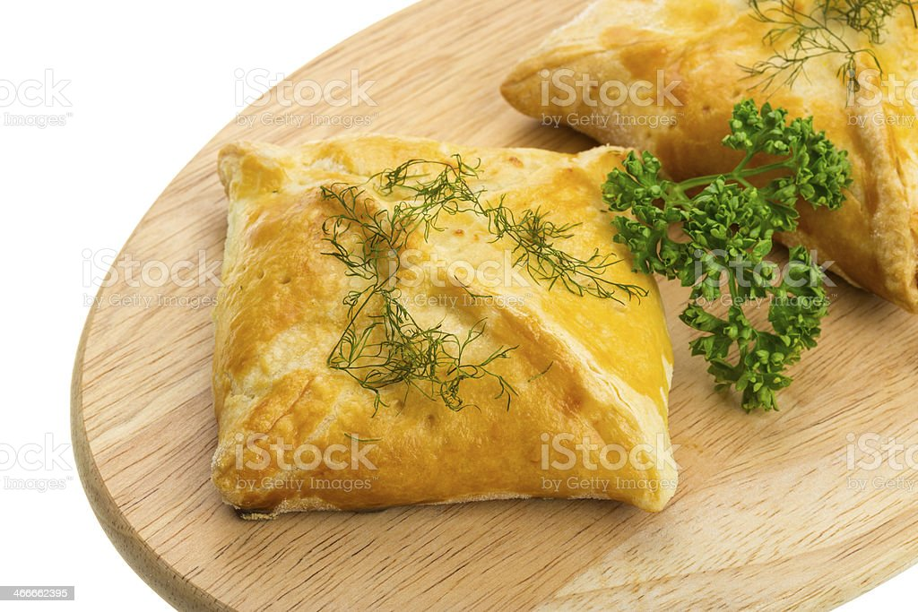 Patty with chicken and parsley stock photo