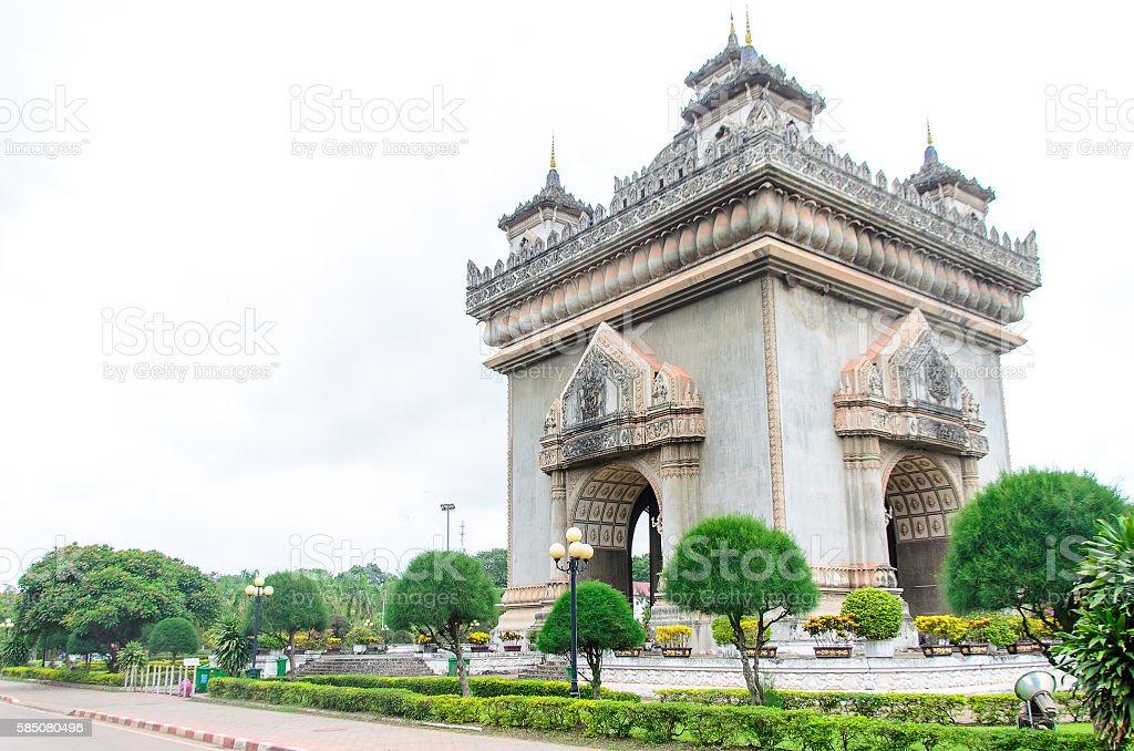 Patuxai, a memorial monument, in Vientiane, Laos stock photo