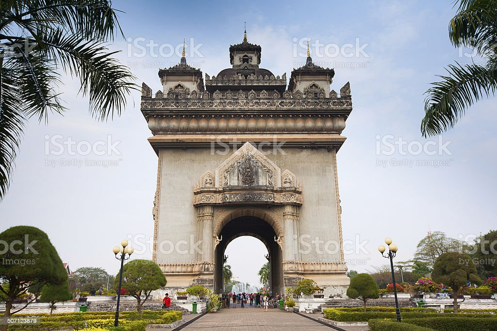 Patuxai (Victory Gate) in Vientiane, Laos royalty-free stock photo