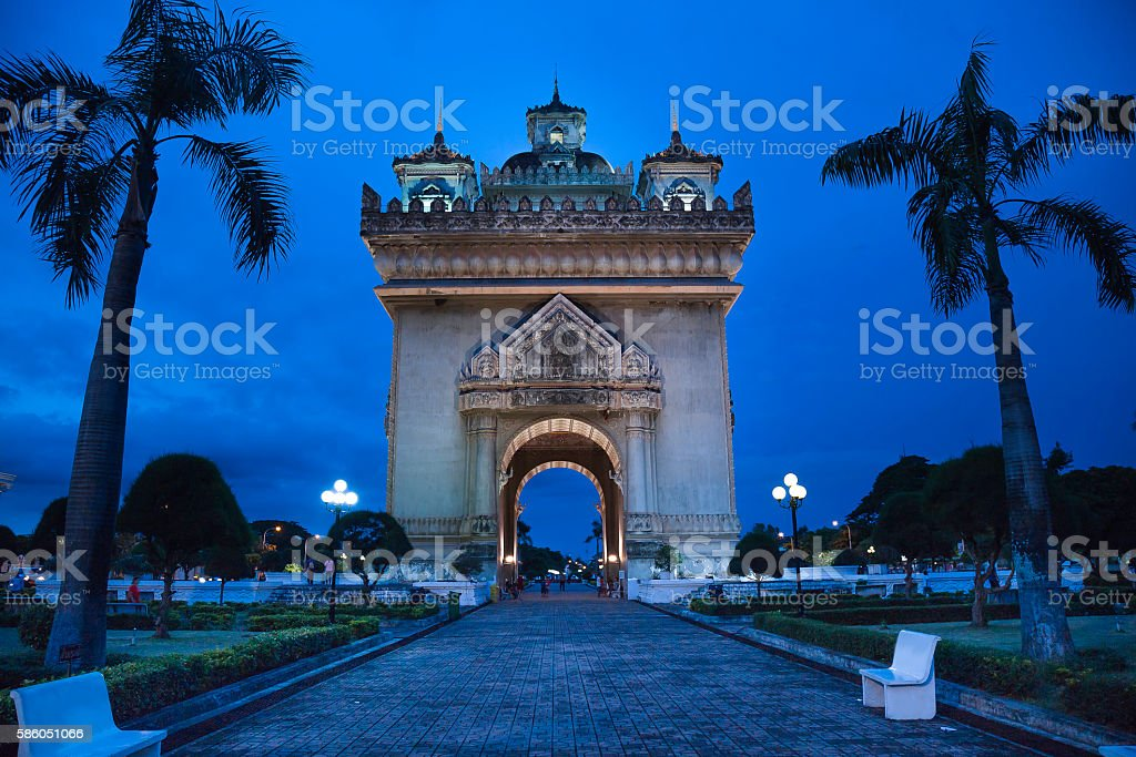 Patuxay Gate War Victory stock photo