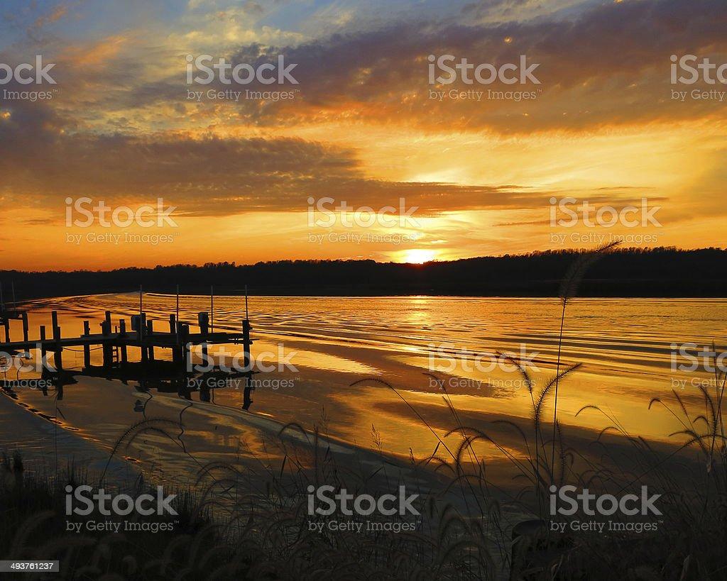 Patuxent River Sunset stock photo