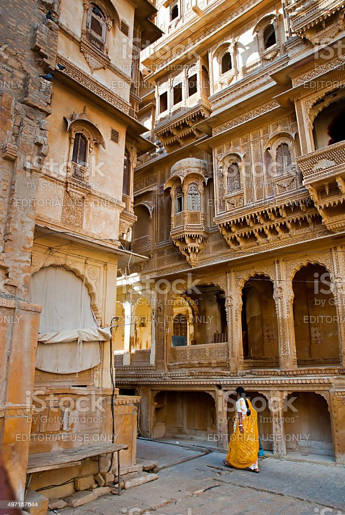 Patwon ki Haveli palace, Jaisalmer, India stock photo