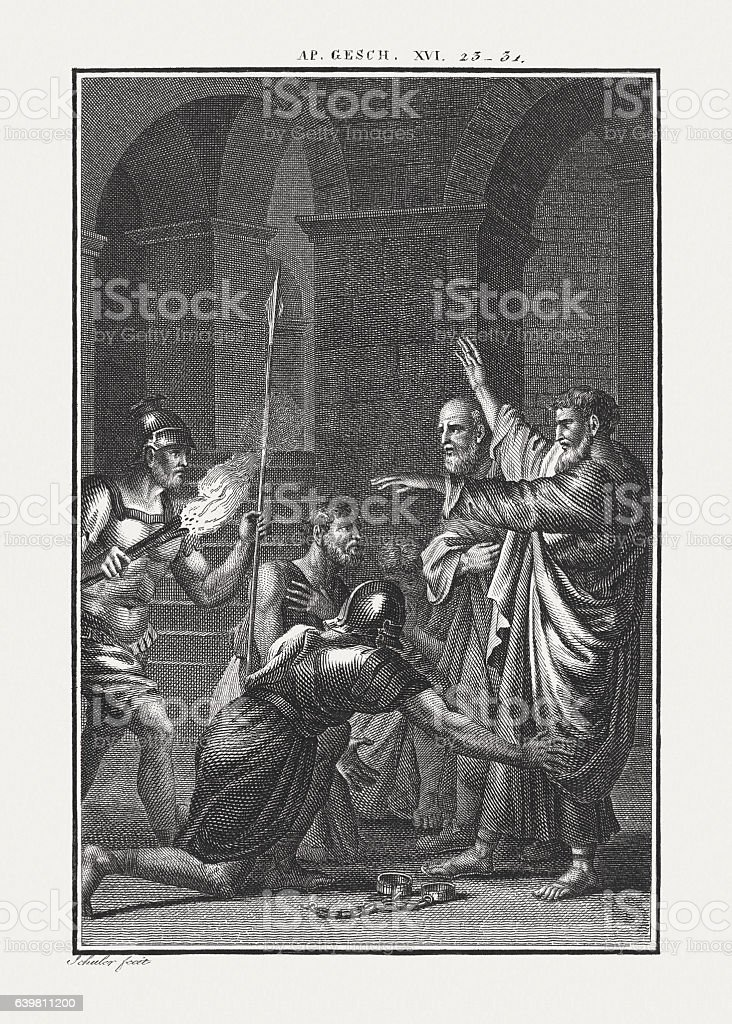 Paul and Silas in the Prison (Acts 16), published c.1850 stock photo