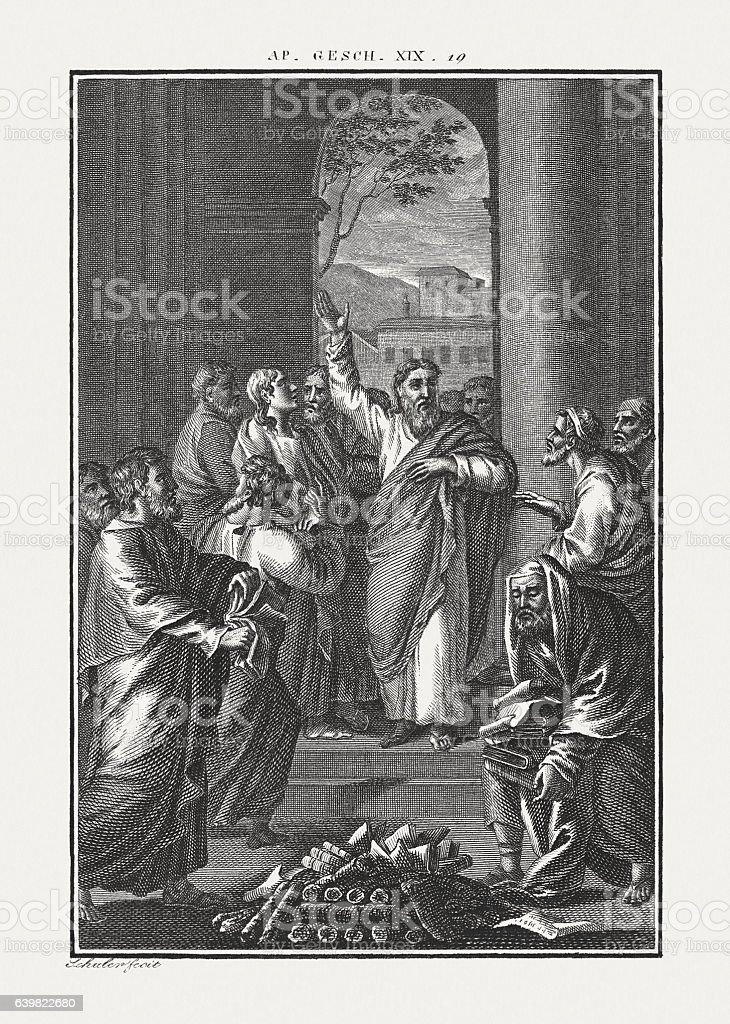 Paul at Ephesus (Acts 19, 19), copper engraving, published c.1850 stock photo
