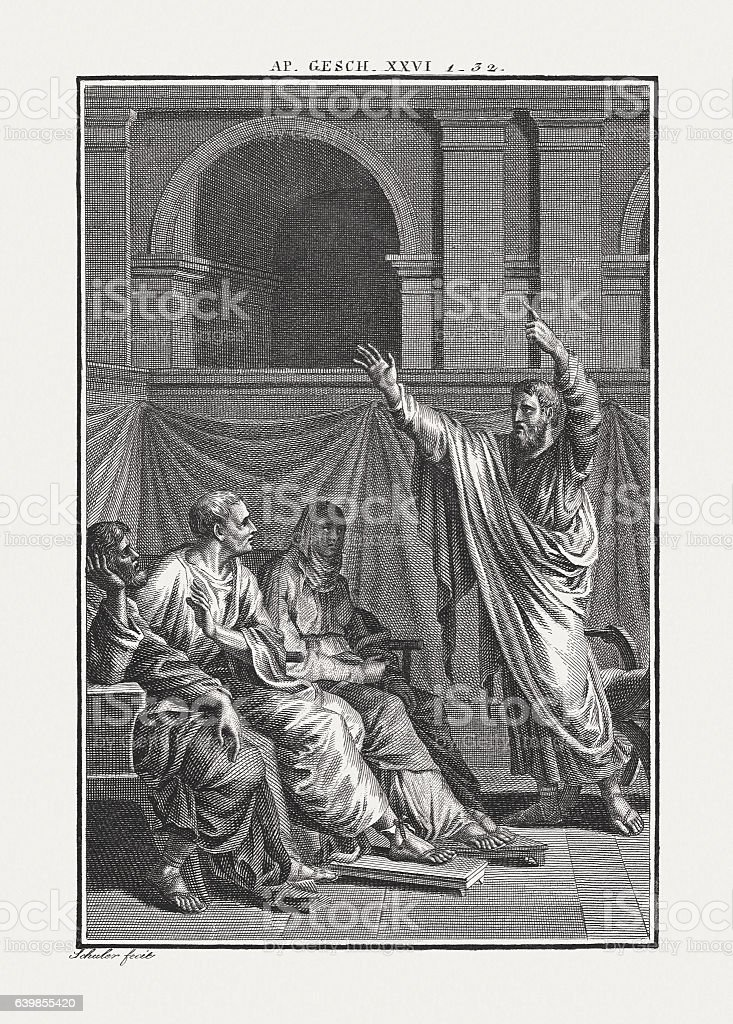 Paul before Festus and Agrippa (Acts 26), published c. 1850 stock photo
