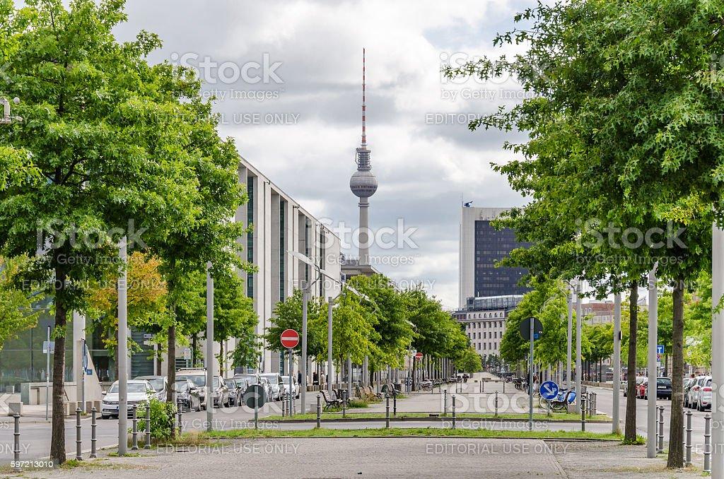 Paul Loebe Allee in Berlin stock photo