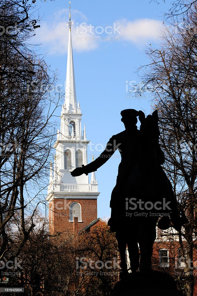 Paul Revere and Old North Church stock photo