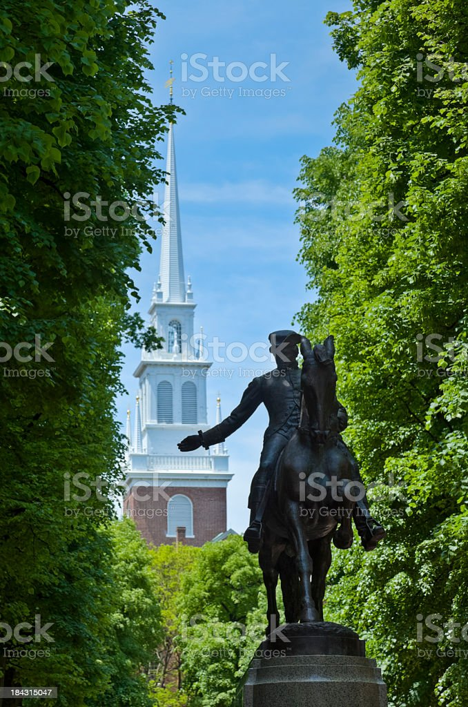 Paul Revere Monument and Boston's Old North Church stock photo