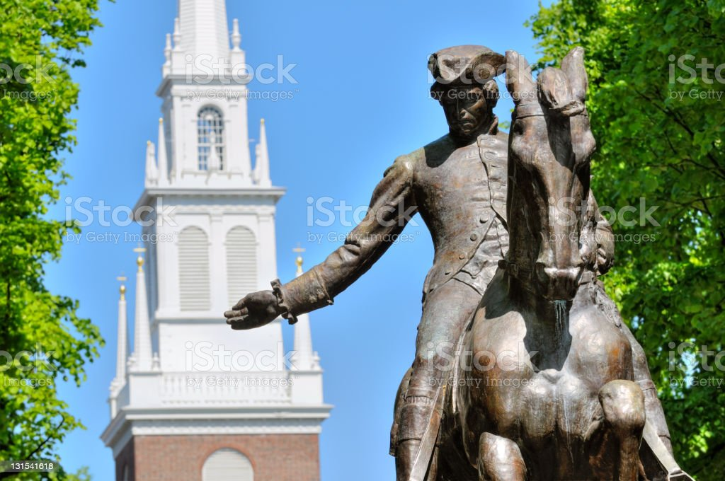 Paul Revere Statue and Old North Church stock photo