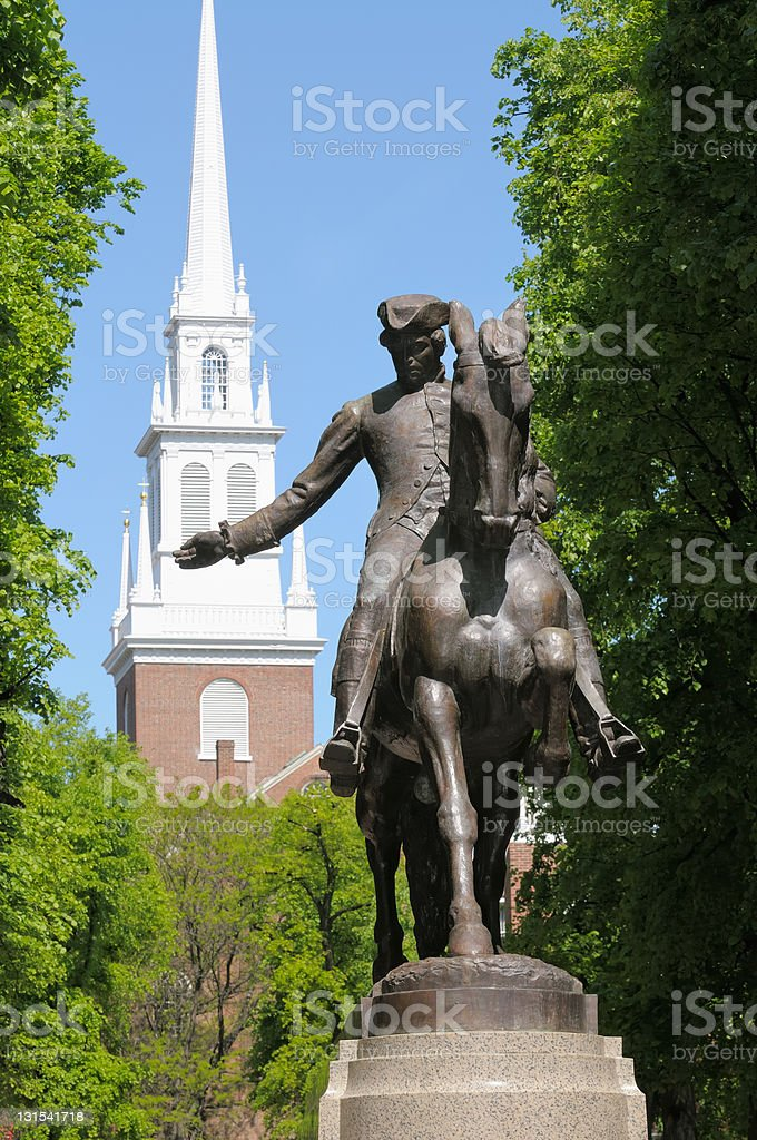 Paul Revere Statue stock photo