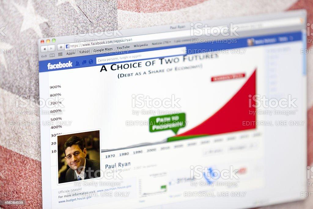 Paul Ryan Facebook Fan Page royalty-free stock photo