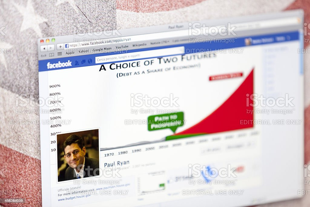 Paul Ryan Facebook Fan Page stock photo