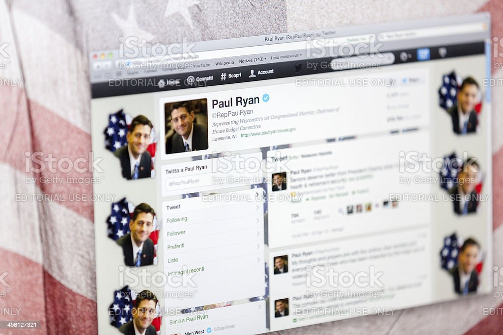 Paul Ryan Twitter Fan Page stock photo