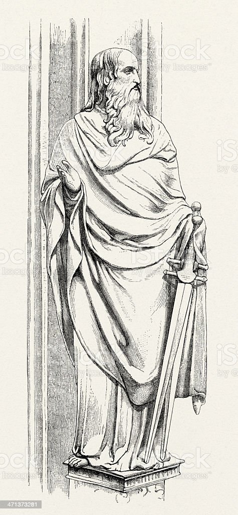 Paul the Apostle, Sculpture, Engraving stock photo