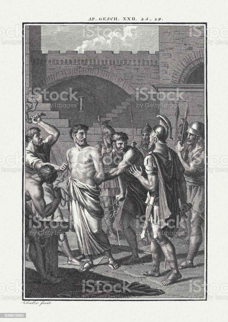 Paul the Roman Citizen (Acts 22), copper engraving, published c.1850 stock photo