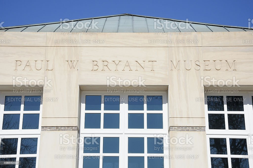 Paul W. Bryant Museum Sign stock photo