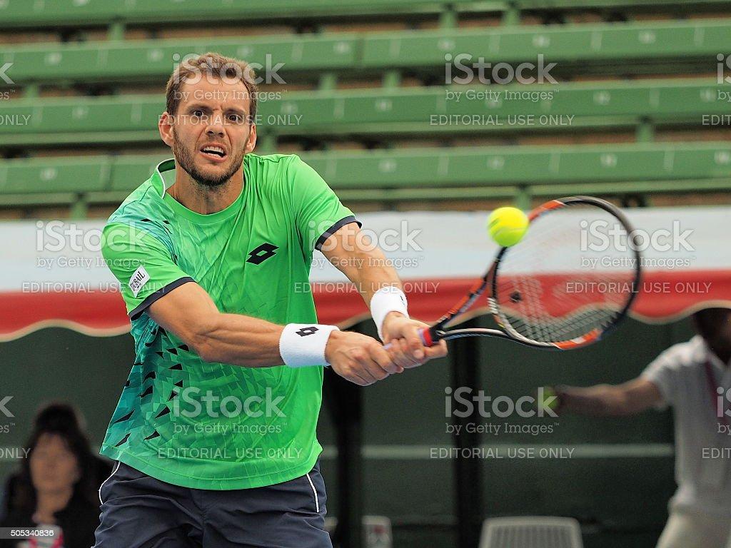 Paul-Henri Mathieu backhand and ball stock photo