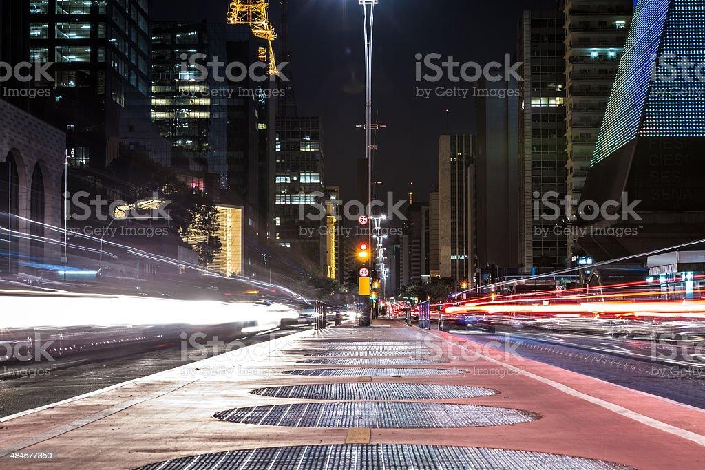 Paulista Avenue at night in Sao Paulo, Brazil stock photo