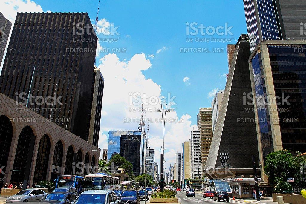 Paulista Avenue in Sao Paulo city royalty-free stock photo