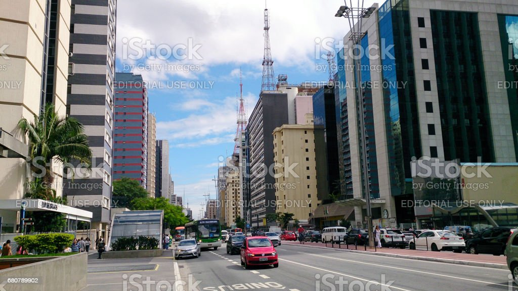 Paulista Avenue in Sao Paulo stock photo