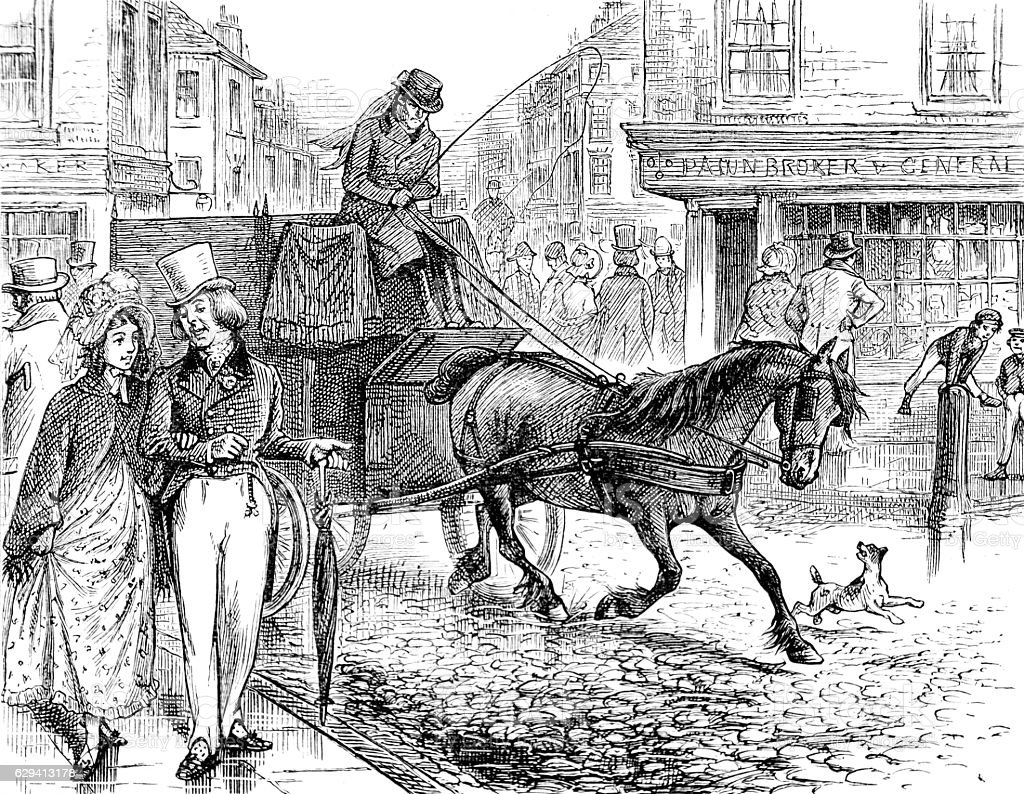 Pauper's Drive - horse drawn carriage for the poor decased stock photo