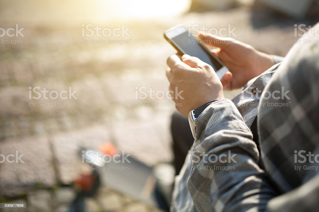 Pause For SMS stock photo