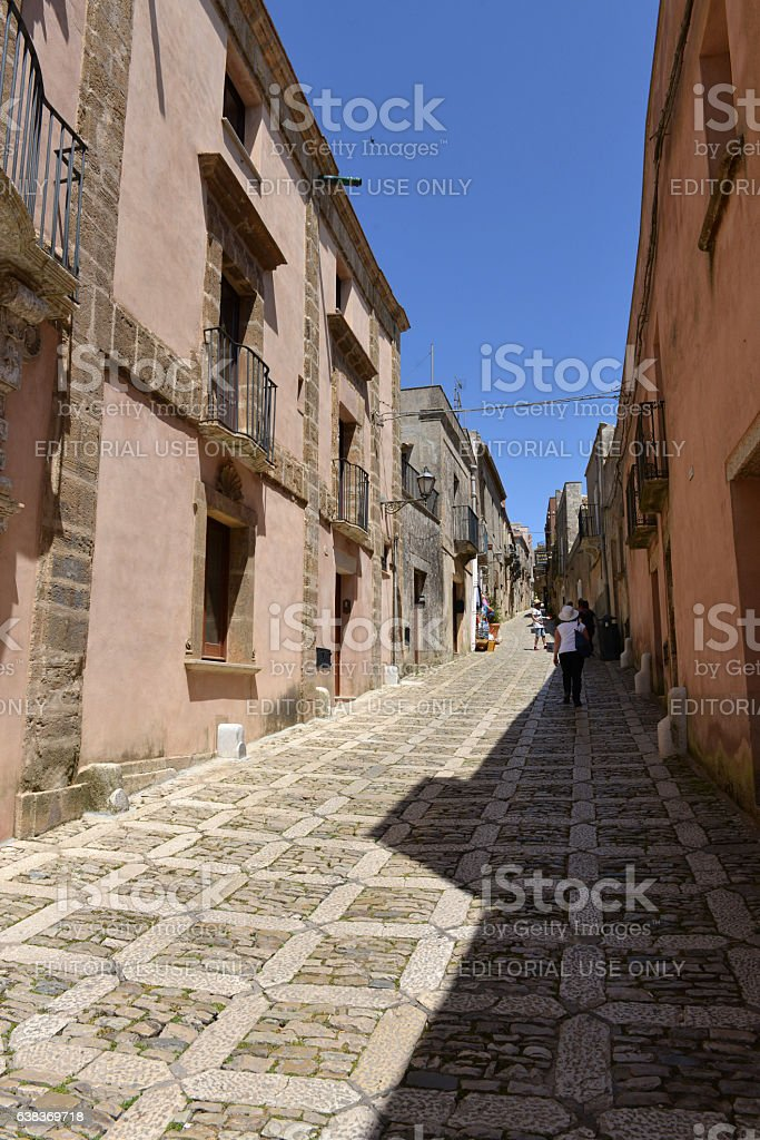 Paved road in Erice, Sicily stock photo