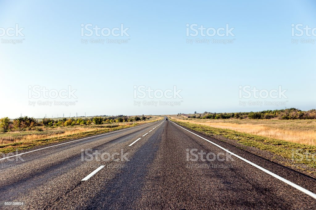 Paved road in the steppe stock photo