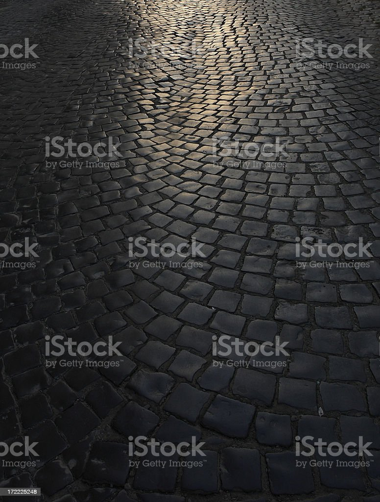 Paved Street by Twilight stock photo
