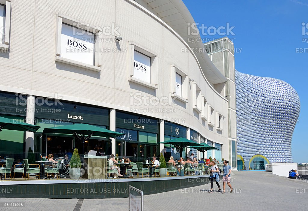 Pavement cafe and Selfridges, Birmingham. stock photo