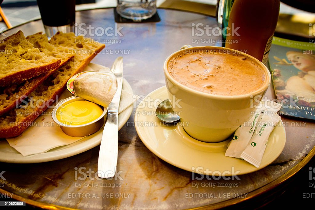 Pavement cafe breakfast in Nice, France stock photo